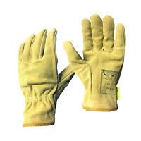 Pair Lightweight Tig Mig Welding Heat Resistant Work Gloves Leather Yellow