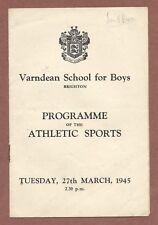 Varndean School for Boys Brighton 1945, Athletics Programme Names Jx228