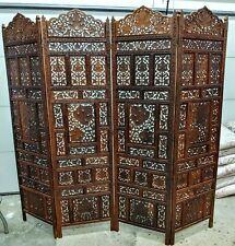 """Vintage Ornate Solid Wood Asian Hand Carved 4 Panel Room Divider 80"""" Wide RARE"""