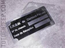 🔻 plate plaque plaquette JEEP ERGM 2 M201 HOTCHKISS WILLYS