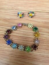 Gold Toned Bracelet & Earrings Vintage Un-named Multicolored Costume Jewelry