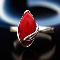 Koralle Silber 925 Ring Sterlingsilber Damen Schmuck verschiedene Größen R0451