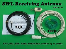 Shortwave, SWL, AM, OC, HAM, Broadcast band, End Fed longwire antenna, 100 foot,