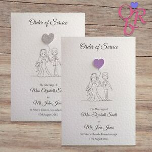 10 Wedding Order of Service Covers *Glitter Hearts* *FREE POSTAGE*