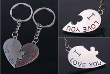 Cute Metal 3D Kiss Heart I LOVE YOU Keychain Keyring Lover Couple Keyfob Gift