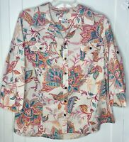 Croft & Barrow Cotton Button Down Shirt Paisley 3/4 Slv Boho Top Blouse Large L