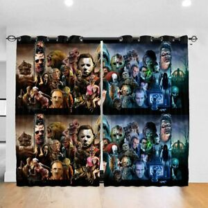 Horror Movie Characters Curtain Panel Living Room Bedroom Window Drapes 2 Panel