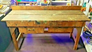 Antique Rustic Oak Workbench With Two Drawers, French, Circa 1910