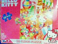 """""""Hello Kitty"""" 48 Piece 3-D Floor Puzzle With 3-D Glasses Included Brand New"""