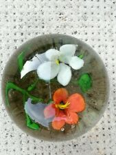 Ancien sulfure verre fleurs glass paperweight Presse papier