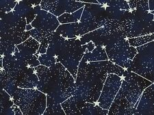 Fat Quarter Midnight Constellations Glow in The Dark Cotton Sew Quilting Fabric