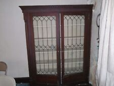 Antique leaded glass oak built-in bookcase shelf architectural salvage