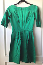 True Vintage 1950's - 60's Emerald Green Silk Satin Dress - Small - Very Fitted