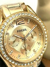 Fossil Women's Watch ES2811 Rose Gold Tone Stainless Steel Riley Multifunction