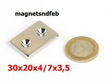 Magnet, Block 30x20x4, zwei Löcher für Schrauben, Neodym
