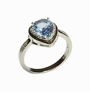 925 Sterling Silver Blue Topaz & White Cubic Zirconia Ring Size 7