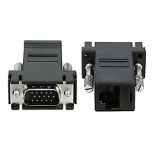 2 Pack Black VGA Extender Adapter To CAT5/CAT6/RJ45 Cable