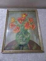 Watercolour with Wood Frame - Signed mm 52 - Flower Bouquet Still Life