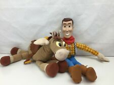 Toy Story - Woody AND Bullseye - Plush Character Toys - Plastic Saddle -