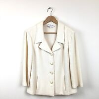St. John Collection Jacket 14 Cream Ivory Knit Sweater Blazer Women's Career VTG