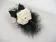 Corsage/buttonhole/wedding Flower Ivory & Black