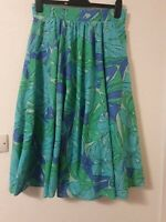 True Vintage Floral Swing Flare High Waist Skirt Size 44 12 - 14