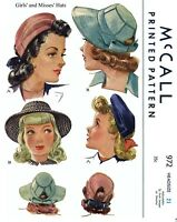 McCall # 972 Hat Cap Beret Fabric sewing pattern Vintage Millinery 1940's Girl's