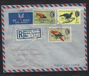 BRITISH HONDURAS COVER (P0612B) BELIZE CITY SG 1964 1C+3C+10C REG FDC TO ENGLAND