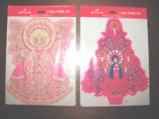 Vintage Hallmark Seal Trims~Lot Of 2~Pink Angel & Christmas Tree~New