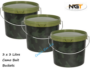 3 x 3L Camo Fishing Round Bait Bucket for Boilies Ground Bait Baits Pellets NGT