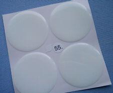 (55W) 4x weiß Embleme für Nabenkappen Felgendeckel 55mm Silikon Aufkleber weiss