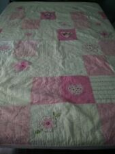 Pottery Barn Kids PINK & WHITE EMBROIDERED QUILT HEARTS FLOWERS 67 X 84""