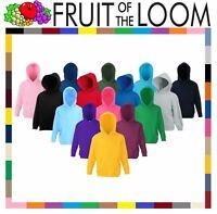 Fruit of The Loom Kids Classic Hooded Sweatshirt Plain Boys Girls Pullover Sweat