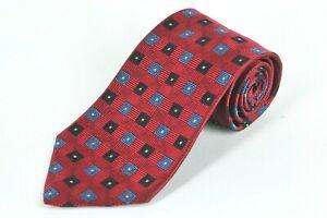 Jos A Bank Corporate Men's Tie Red & Blue Geometri Woven Silk Necktie 57 x 4 in.