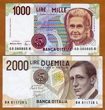SET Italy, 1000;2000 Lire D. 1990, P-114-115, last pre-Euro, UNC