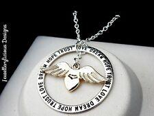 Beautiful Two Tone Love Dream Hope Trust Guardian Angel Love Wings Necklace