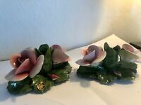 Vintage Capodimonte Italian Porcelain - 2 Roses & Candlestick Holder pair