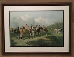 Hunt Scene by J.F. Herring Horses Hunting Matted & Framed~Excellent Condition
