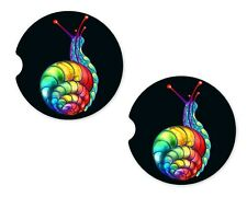 Rainbow Snail Rubber Car Coasters For Drinks Absorbent Car Cup Holder   SET OF 2