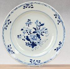 Fine Condition! 18c Qianlong Blue&White VOC Chine de Commande Plate Flowers Qing