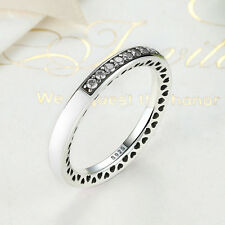 European 925 Sterling Silver White Enamel & Clear CZ Radiant Hearts Band Ring