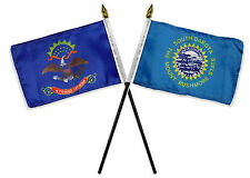 "State North & South Dakota Flags 4""x6"" Desk Set Table Gold Base"