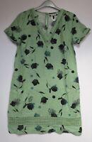 Next Linen Blend Shift Dress Green Floral Print Summer Print - Size  10 - 18 p