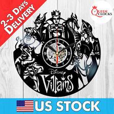 Villains Disney Vinyl Wall Clock Queen Maleficent Ursula Cruella Jafar Scar Gift