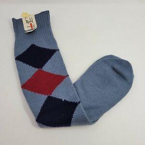 New Vintage 60s Mens Size Small Medium Wool Argyle Socks Blue Dead Stock Red