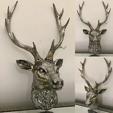 Antique Silver Stags Head Deer Head Wall Mounted Free Postage