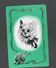 Playing  SWAP Cards 1 VINT U.S DECO  CAT / KITTEN  KNITTING CLEVER CAT MINT 120