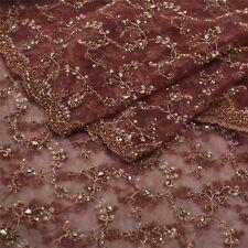 Sanskriti Indian Vintage Heavy Dupatta Net Mesh Brown Hand Beaded Zardozi Stole
