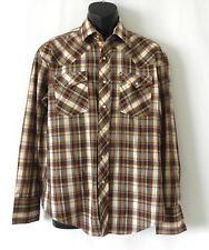 Border Town Western Shirt Permanent Press Long Sleeve Snap Closure Pockets SizeL