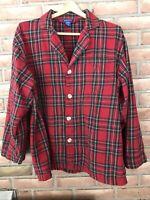 Pendleton Men's Size Medium Red Plaid button up flannel cotton sleep top shirt